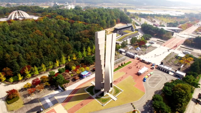 Aerial view of independence monument at Independence hall of Korea