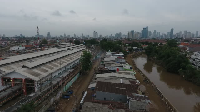 aerial view of indonesia capital hit by flooding, jakarta, java, indonesia, on saturday, jan 4, 2020. - jakarta stock videos & royalty-free footage