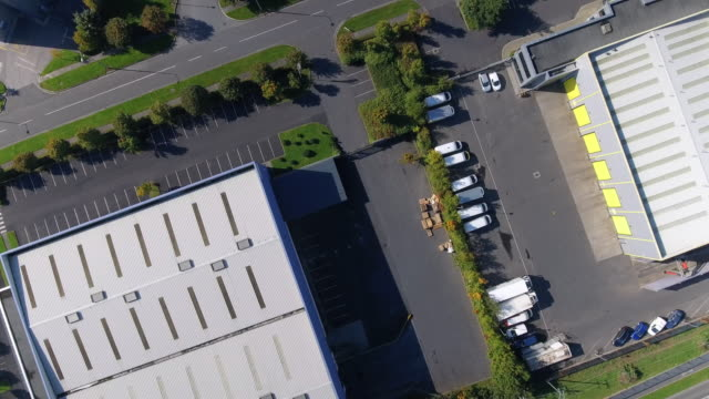 Aerial view of industrial buildings in a business park