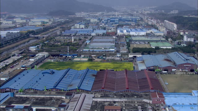 aerial view of industrial complex at changwon - industrial district stock videos & royalty-free footage
