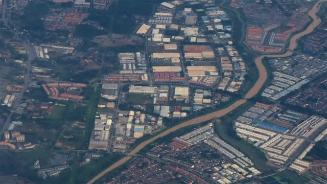 aerial view of industrial district - malacca stock videos and b-roll footage