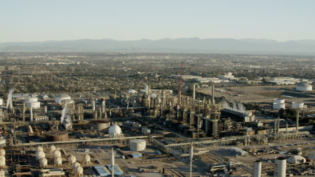 Aerial view of industrial fuel refinery Los Angeles