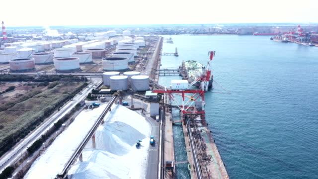産業港の空中風景 - 貯蔵タンク点の映像素材/bロール