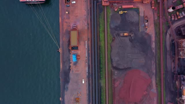 aerial view of industrial harbor - directly above stock videos & royalty-free footage