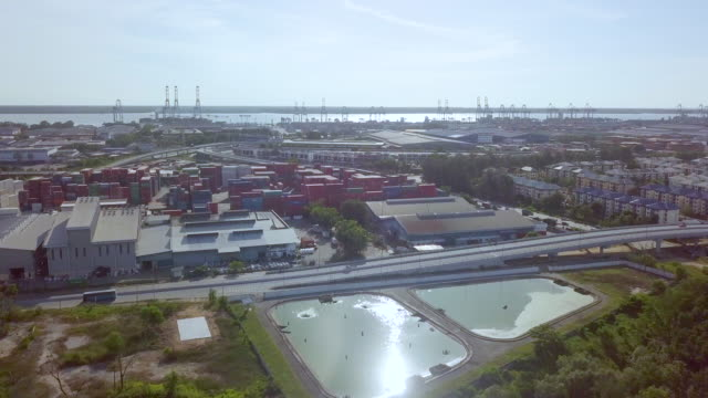 aerial view of industrial port - malaysia stock-videos und b-roll-filmmaterial