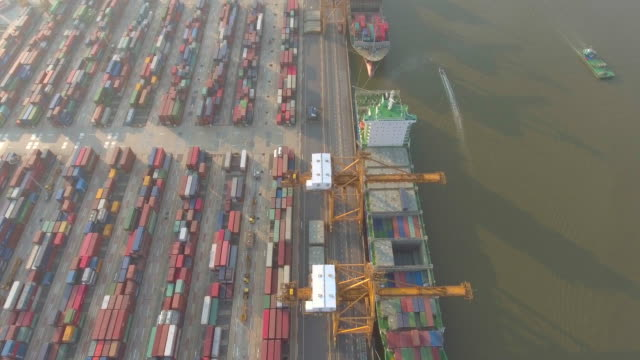 aerial view of industrial port - diesel fuel stock videos and b-roll footage