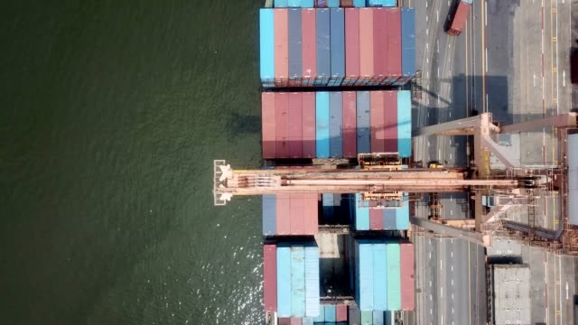 aerial view of industrial port - container stock videos & royalty-free footage