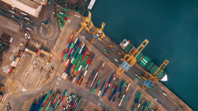 aerial view of industrial port with containers, hyperlapse. - pick up truck stock videos and b-roll footage