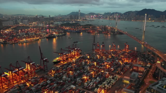 aerial view of industrial port with containers ship in hong kong stock - aircraft point of view stock videos & royalty-free footage