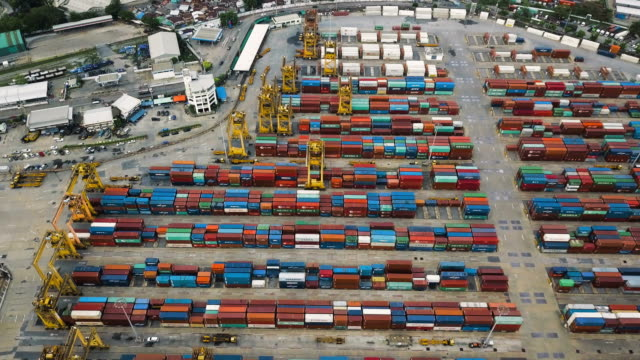 Aerial View of Industrial port with containers ship in Thailand