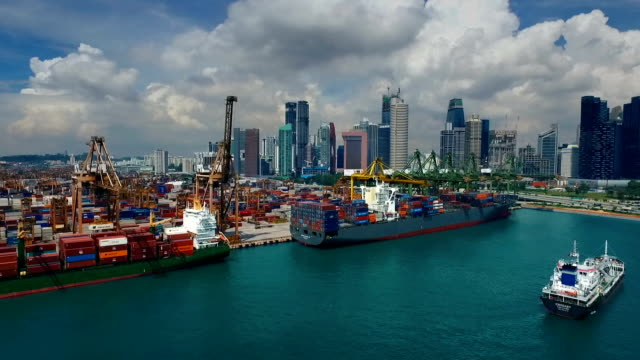 Aerial View of Industrial port with containers ship,Singapore