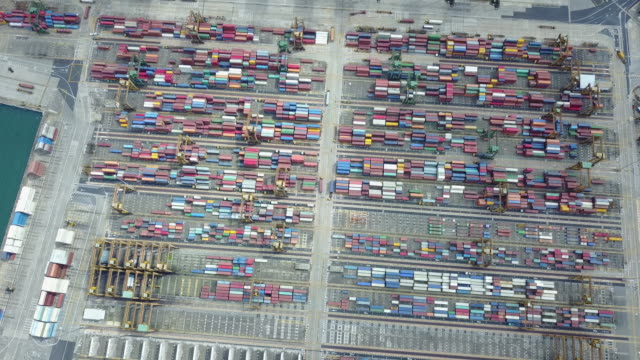 Aerial view of Industrial port with containers ship,Top view  cargo ship with crane