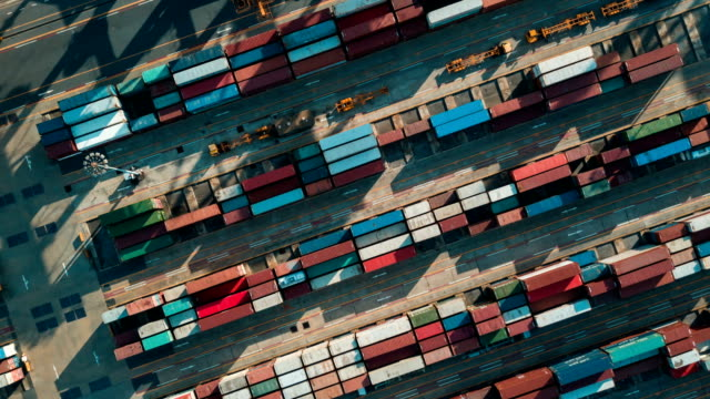 Aerial view of Industrial port with containers,Hyperlapse