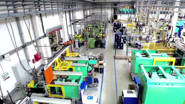 Aerial view of industrial robots in factory