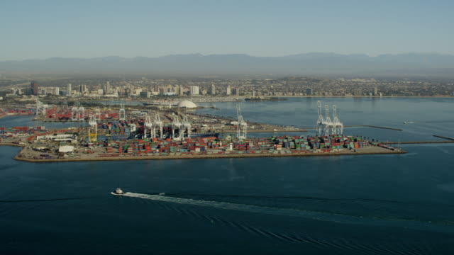 Aerial view of industrial shipping dock Los Angeles