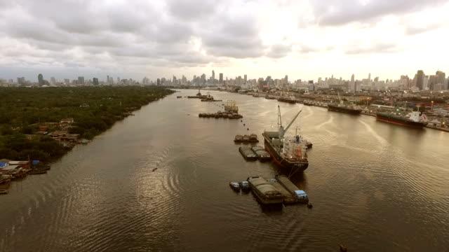 Luftbild von industriellen Versand Hafen in Bangkok, Thailand