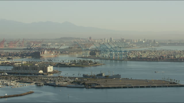 Aerial view of industrial shipping port Los Angeles