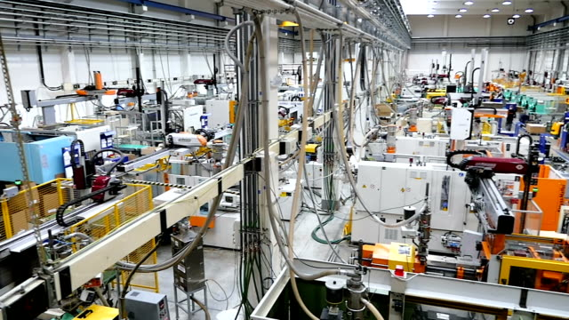aerial view of injection molding factory - electrical equipment stock videos & royalty-free footage