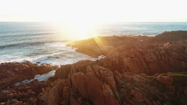 aerial view of injidup beach western australia sunset - ocean tide stock videos & royalty-free footage