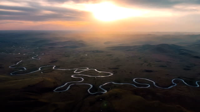 aerial view of inner mongolia - river stock videos & royalty-free footage
