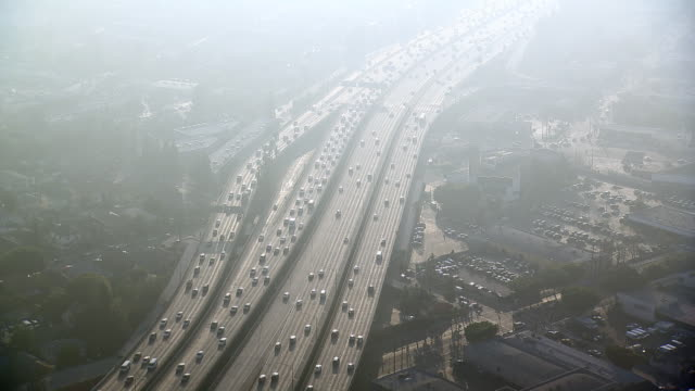 aerial view of interstate 10, also known as the santa monica freeway, in los angeles, california. - interstate 10 stock videos & royalty-free footage