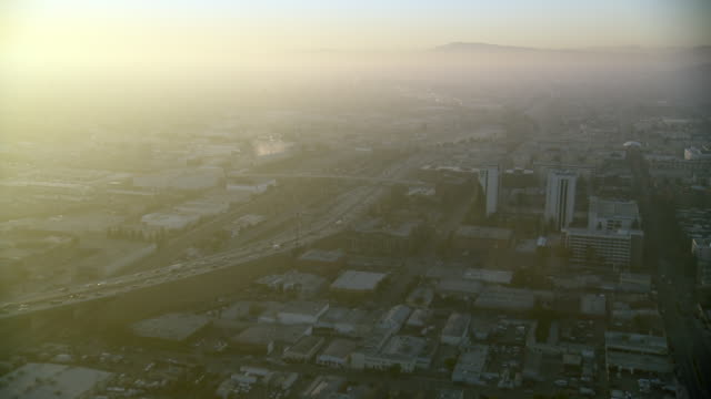 Aerial view of Interstate 5, also known as the Golden State Freeway, in Burbank, California.