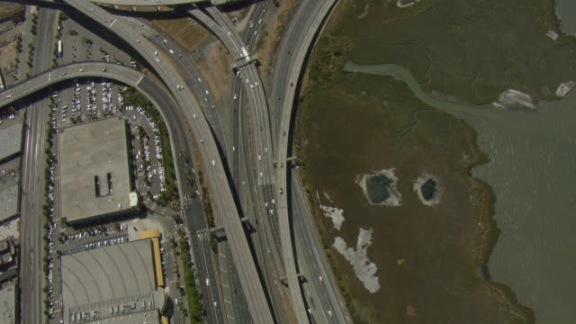 aerial view of interstate 80 in oakland - northern california stock videos and b-roll footage