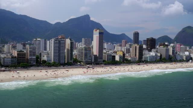 aerial view of ipanema beach at rio de janeiro, brazil - 2016 stock videos and b-roll footage