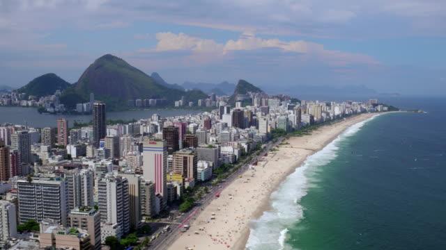 aerial view of ipanema beach at rio de janeiro, brazil - レブロン点の映像素材/bロール