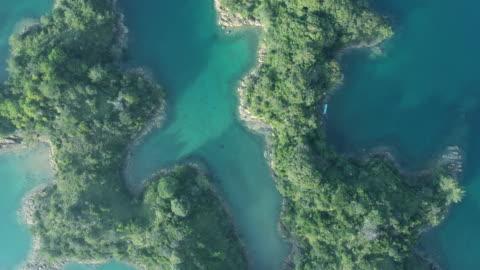 vídeos y material grabado en eventos de stock de aerial view of islands covered in green - perspectiva desde un helicóptero