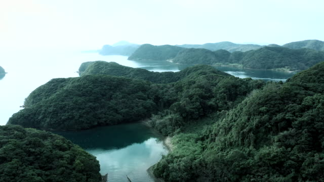 aerial view of islands covered in green - helicopter point of view stock videos & royalty-free footage