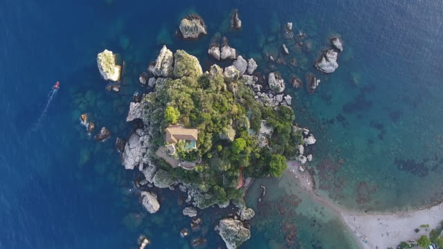 aerial view of isola bella in taormina, sicily - sicily stock videos & royalty-free footage