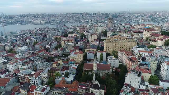 aerial view of istanbul, galata tower  and christ church 4k drone footage - anglican stock videos & royalty-free footage