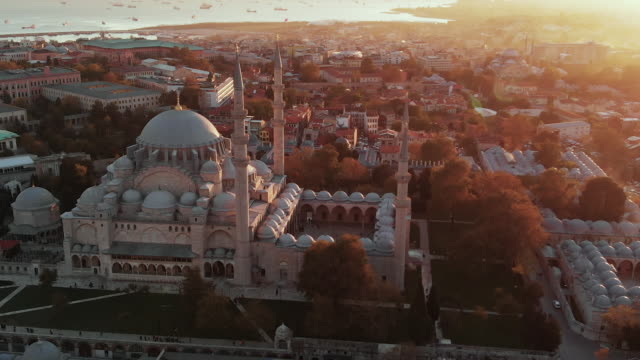 aerial view of istanbul, turkey - mosque stock videos & royalty-free footage
