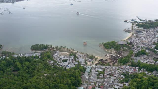 aerial view of itsukushima island (厳島, miyajima) - shinto shrine stock videos & royalty-free footage