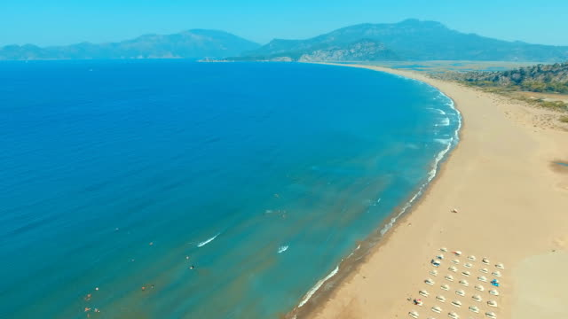 aerial view of iztuzu beach - turtle beach - jamaican people stock videos and b-roll footage