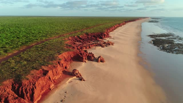 aerial view of james price point, broome western australia - drone 4k - majestic stock videos & royalty-free footage
