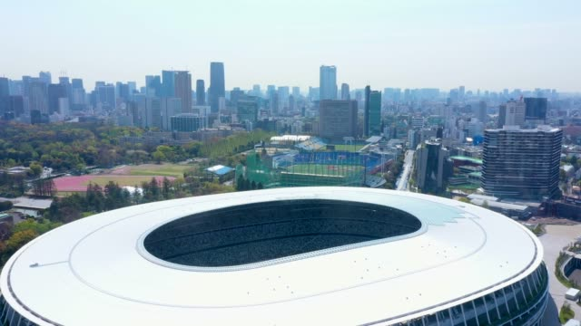 aerial view of japanese national stadium - midday stock videos & royalty-free footage
