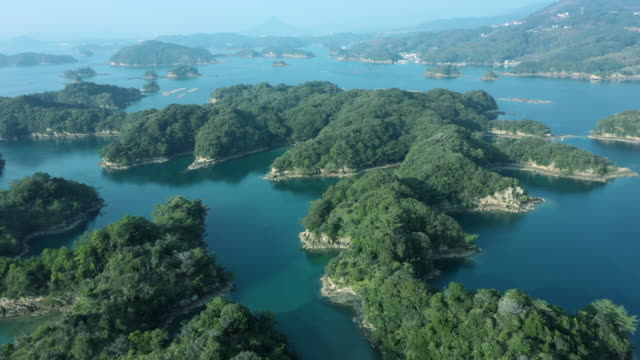 aerial view of japanese's islands on the sea - helicopter point of view stock videos & royalty-free footage