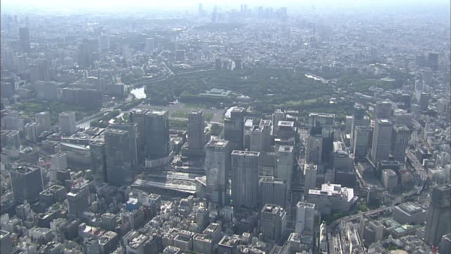 Aerial View Of Japan's Economic Center Around Tokyo Station