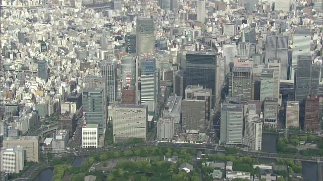 Aerial View Of Japan's Economic Center called Otemachi Around Tokyo Station