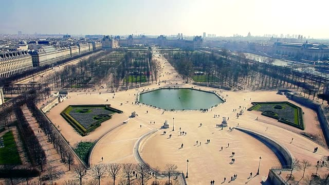 Aerial view of Jardin des Tuileries with Rivoli street on left and Louvre in the background People are walking and running NO