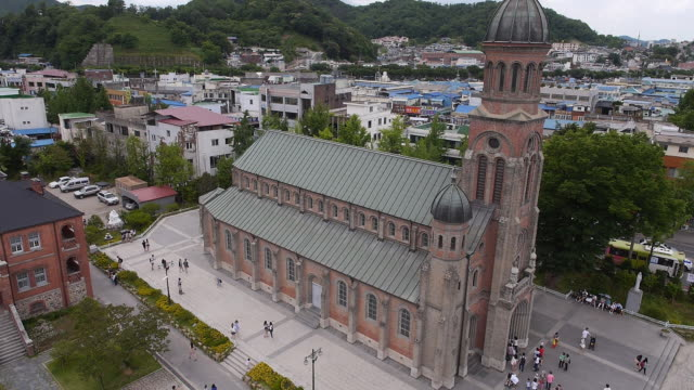Aerial view of Jeondong Cathedral (Korea Historic Place 288) in Jeonju (city that retains Korean historical charms and traditions)