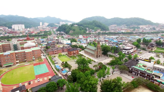 aerial view of jeondong-cathedral (korea historic place 288) - personal land vehicle stock videos & royalty-free footage