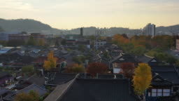 Aerial view of Jeonju Hanok Village in the autumn at South Korea.