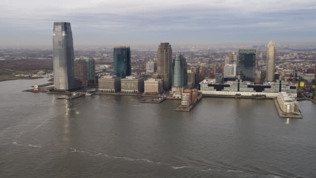 Aerial view of Jersey City from over the Hudson River. Shot in 2011.
