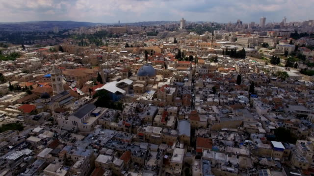 Aerial view of Jerusalem old city flight towards Church of the Holy Sepulchre