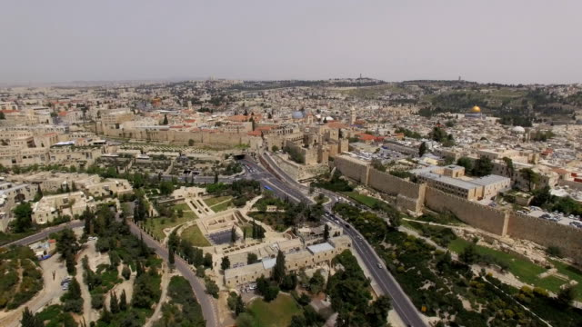 aerial view of jerusalem old city - jerusalem old city stock videos and b-roll footage