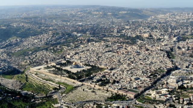 aerial view of jerusalem old city with temple mount, dome of the rock and al-aqsa mosque - shrine stock videos & royalty-free footage
