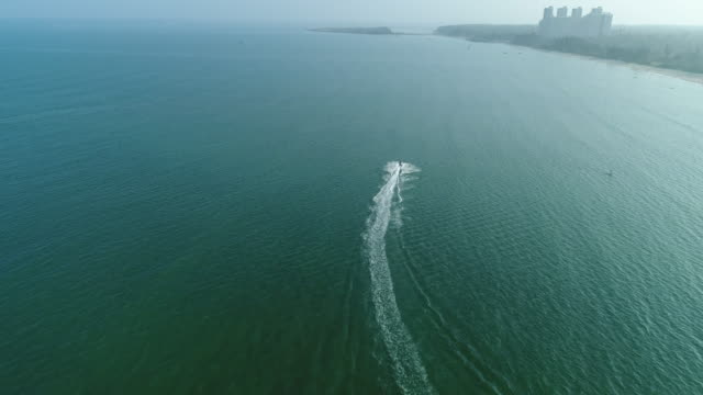 aerial view of jet ski - acquascooter video stock e b–roll